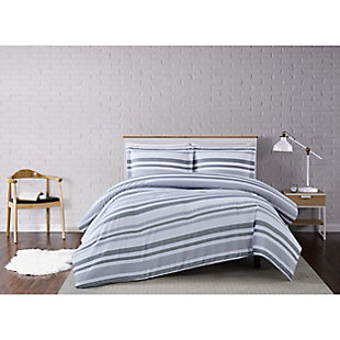 Truly Soft Curtis Stripe 2 Piece Twin XL Comforter Set, Gray/White, rollover
