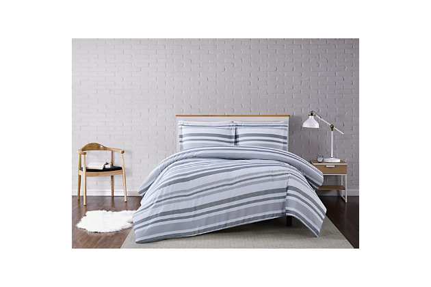 Truly Soft Curtis Stripe 2 Piece Twin XL Comforter Set, Gray/White, large