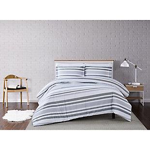 Truly Soft Curtis Stripe 2 Piece Twin XL Duvet Set, Gray/White, rollover