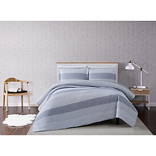 Truly Soft Multi Stripe 3 Piece Twin XL Quilt Set, Gray, rollover