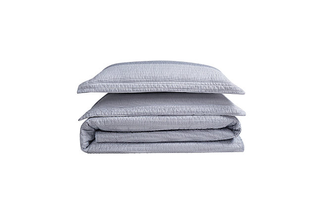 Truly Soft Multi Stripe 3 Piece Twin XL Quilt Set, Gray, large