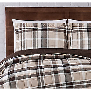 Truly Soft Paulette Plaid 2 Piece Twin XL Quilt Set, Taupe, large