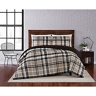 Truly Soft Paulette Plaid 2 Piece Twin XL Comforter Set, Taupe, rollover