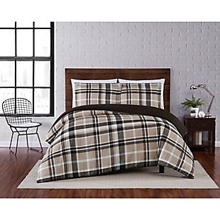 Truly Soft Paulette Plaid 2 Piece Twin XL Duvet Set, Taupe, rollover