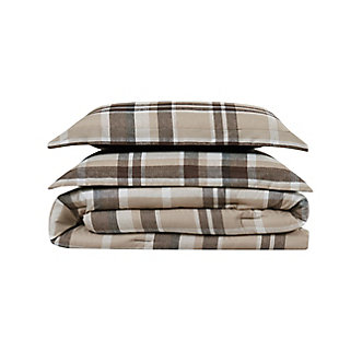 Truly Soft Paulette Plaid 2 Piece Twin XL Duvet Set, Taupe, large