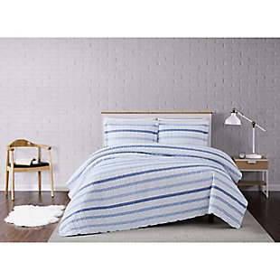 Truly Soft Waffle Stripe 2 Piece Twin XL Quilt Set, White/Blue, rollover