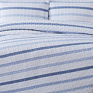 Truly Soft Waffle Stripe 2 Piece Twin XL Quilt Set, White/Blue, large