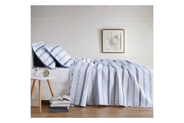 Truly Soft Waffle Stripe 3 Piece King Quilt Set, White/Blue, large
