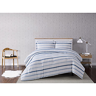 Truly Soft Waffle Stripe 2 Piece Twin XL Comforter Set, White/Blue, rollover