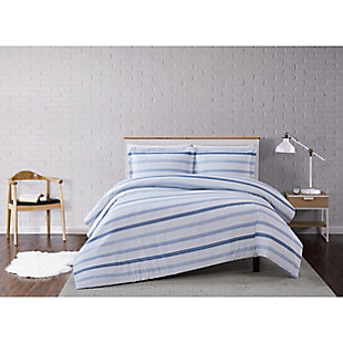 Truly Soft Waffle Stripe 2 Piece Twin XL Duvet Set, White/Blue, rollover