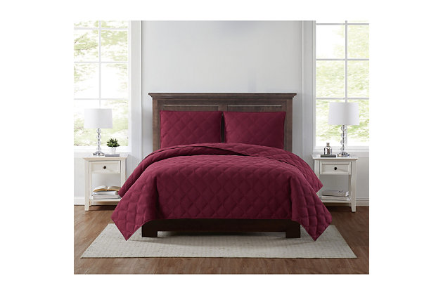 Truly Soft Everyday 3D Puff 2 Piece Twin XL Quilt Set, Burgundy, large
