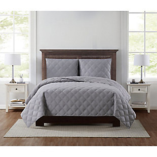 Truly Soft Everyday 3D Puff 3 Piece King Quilt Set, Gray, large
