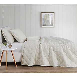 Truly Soft Everyday 3D Puff 2 Piece Twin XL Quilt Set, Ivory, large