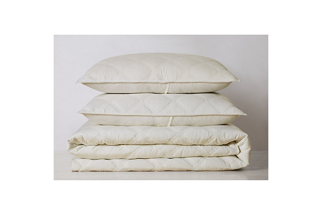 Truly Soft Everyday 3D Puff 3 Piece King Quilt Set, Ivory, large