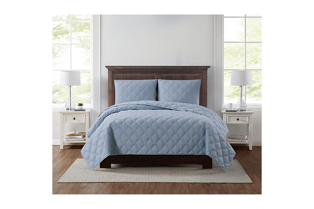 Truly Soft Everyday 3D Puff 3 Piece King Quilt Set, Light Blue, large