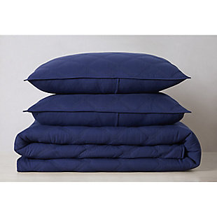 Truly Soft Everyday 3D Puff 3 Piece King Quilt Set, Navy, large