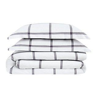 Truly Soft Printed Windowpane 2 Piece Twin XL Comforter Set, White/Charcoal, large