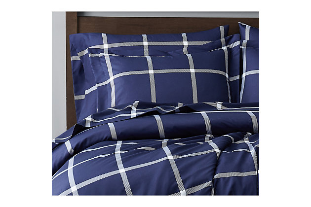 Truly Soft Printed Windowpane 2 Piece Twin XL Comforter Set, White/Navy, large