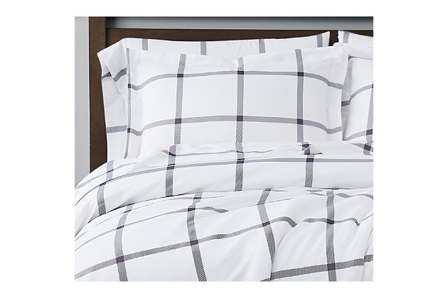 Truly Soft Printed Windowpane 2 Piece Twin XL Duvet Set, White/Charcoal, large