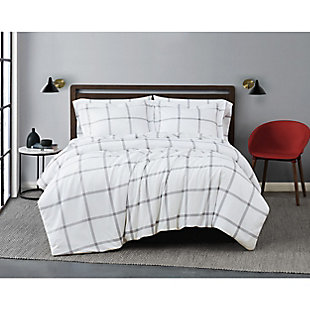 Truly Soft Printed Windowpane 2 Piece Twin XL Duvet Set, White/Gray, large