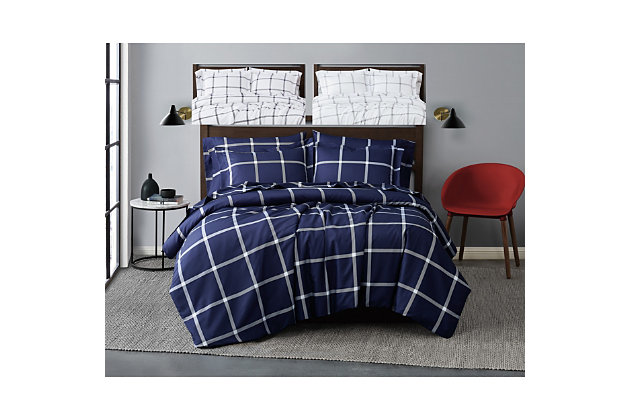 Truly Soft Printed Windowpane 3 Piece Full/Queen Duvet Set, White/Navy, large
