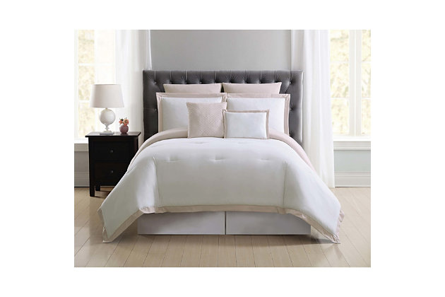 Truly Soft Everyday Hotel Border 7 Piece Full/Queen Comforter Set, White/Blush, large