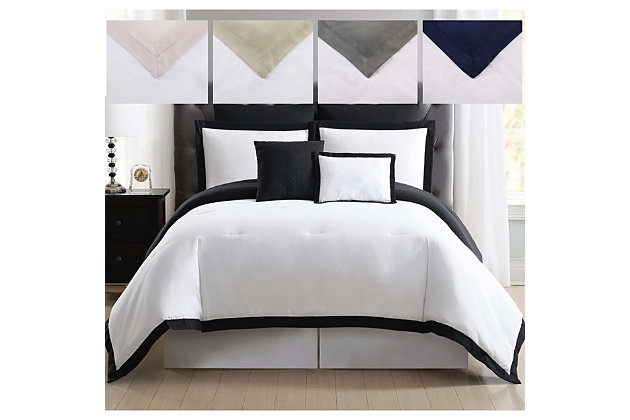 Truly Soft Everyday Hotel Border 7 Piece King Comforter Set, White/Gray, large