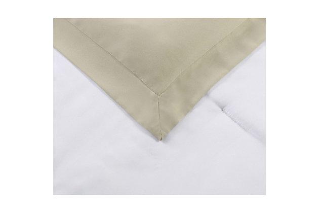 Truly Soft Everyday Hotel Border 7 Piece King Comforter Set, White/Khaki, large