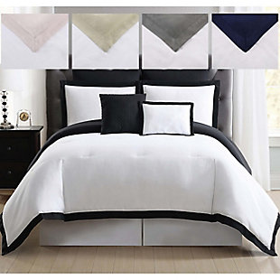 Truly Soft Everyday Hotel Border 7 Piece Full/Queen Duvet Set, White/Black, large