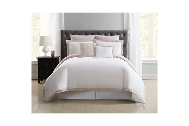 Truly Soft Everyday Hotel Border 7 Piece Full/Queen Duvet Set, White/Blush, large