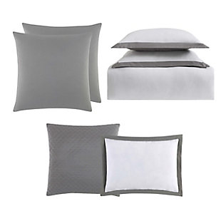 Truly Soft Everyday Hotel Border 7 Piece Full/Queen Duvet Set, White/Gray, large