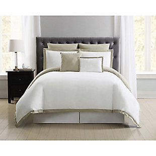 Truly Soft Everyday Hotel Border 7 Piece Full/Queen Duvet Set, White/Khaki, large