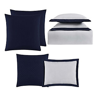 Truly Soft Everyday Hotel Border 7 Piece Full/Queen Duvet Set, White/Navy, large