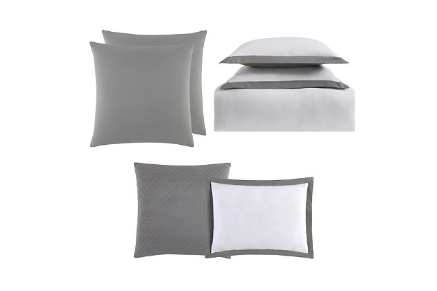 Truly Soft Everyday Hotel Border 7 Piece King Duvet Set, White/Gray, large
