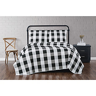 Truly Soft Everyday Buffalo Plaid 2 Piece Twin XL Quilt Set, White/Black, rollover