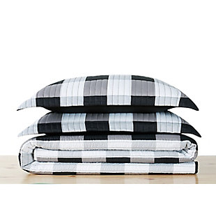 Truly Soft Everyday Buffalo Plaid 2 Piece Twin XL Quilt Set, White/Black, large