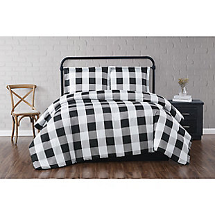 Truly Soft Everyday Buffalo Plaid 2 Piece Twin XL Duvet Set, White/Black, rollover