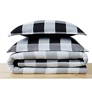 Truly Soft Everyday Buffalo Plaid 2 Piece Twin XL Duvet Set, White/Black, large