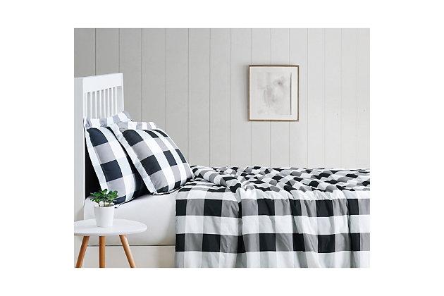 Truly Soft Everyday Buffalo Plaid 2 Piece Twin XL Duvet Set, White/Black, large