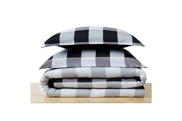 Truly Soft Everyday Buffalo Plaid 3 Piece Full/Queen Duvet Set, White/Black, large