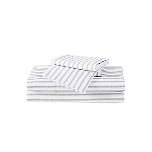 Truly Soft Pinstripe 3 Piece Twin Sheet Set, White/Gray, large