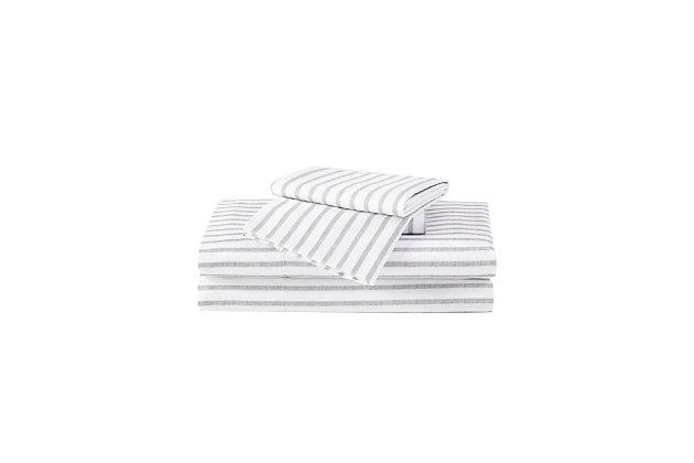 Truly Soft Pinstripe 3 Piece Twin Sheet Set, White/Gray, large
