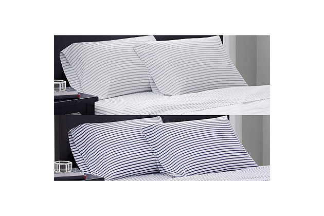 Truly Soft Pinstripe 4 Piece Queen Sheet Set, White/Navy, large