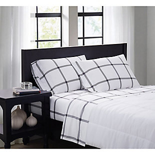 Truly Soft Printed Windowpane 3 Piece Twin Sheet Set, White/Charcoal, rollover