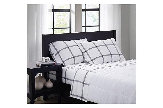 Truly Soft Printed Windowpane 3 Piece Twin Sheet Set, White/Charcoal, large