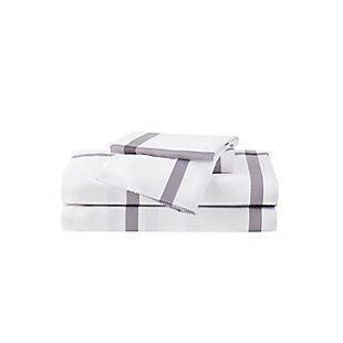 Truly Soft Printed Windowpane 3 Piece Twin Sheet Set, White/Charcoal, large
