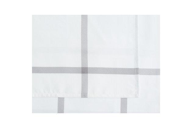 Truly Soft Printed Windowpane 3 Piece Twin Sheet Set, White/Gray, large