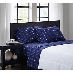 Truly Soft Tattersall 3 Piece Twin Sheet Set, Navy/White, rollover