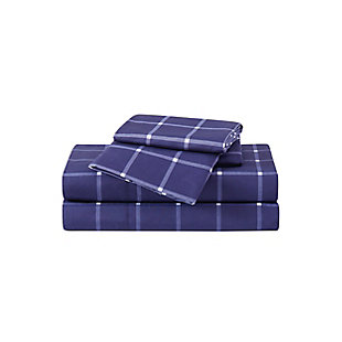 Truly Soft Tattersall 3 Piece Twin Sheet Set, Navy/White, large