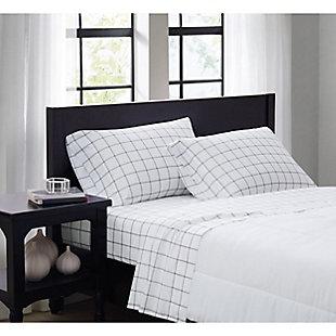 Truly Soft Tattersall 3 Piece Twin XL Sheet Set, White/Gray, large